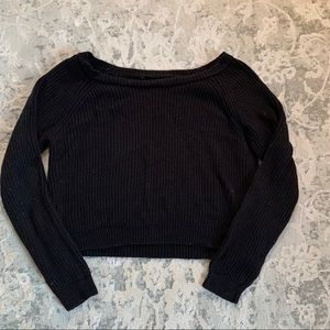 Black sweater crop top